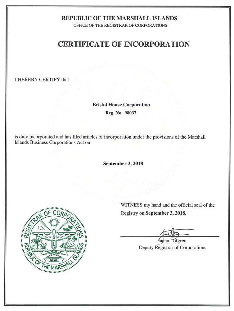 Информация о регистрации Bristol House Corporation
